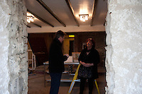 Wednesday 19 February 2014<br /> Pictured:( L-R )  Prime Minister David Cameron talks to Pub Landlady Lisa Clifton inside the Duke of Edinburgh public house which was severely damaged by the recent bad weather and flooding<br /> Re: Prime Minister David Cameron Visits Flood victims at the Duke of Edinburgh public house in Newgale, Pembrokeshire, Wales