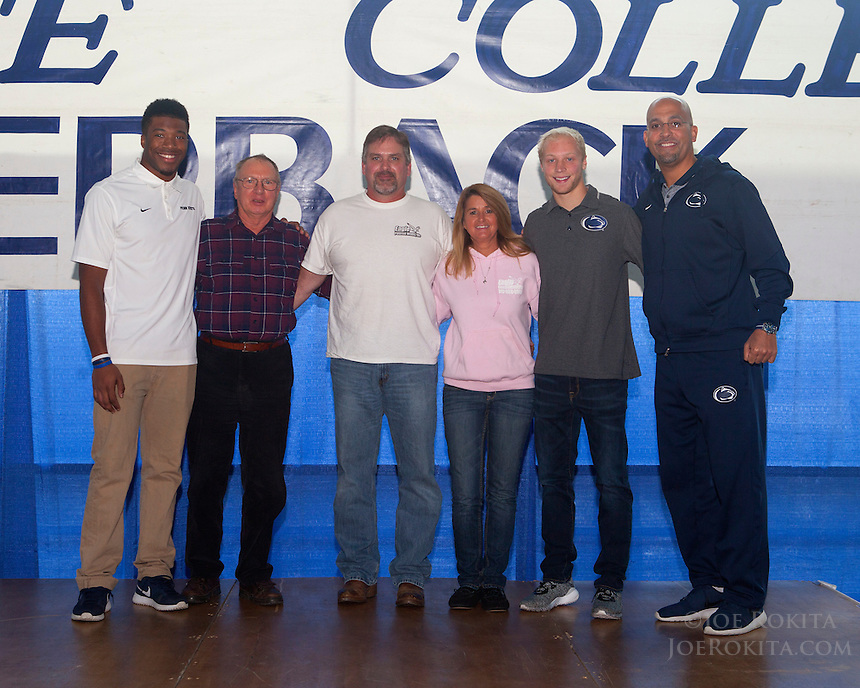 State College, PA - 11/02/2016:  Week #9 State College Quarterback Club luncheon at Mount Nittany Club at Beaver Stadium in University Park, PA.<br /> <br /> This week's opponent: Iowa<br /> <br /> Players: Saeed Bladknall, Gregg Garrity<br /> <br /> Coach: James Franklin<br /> <br /> Sponsor: Eagle Poured Walls<br /> <br /> Photos by Joe Rokita / JoeRokita.com