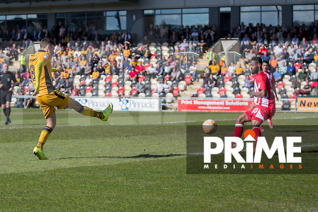 Mark Randall of Newport County shoots, leading to his side's first goal during the Sky Bet League 2 match between Newport County and Accrington Stanley at Rodney Parade, Newport, Wales on 22 April 2017. Photo by Mark  Hawkins.