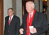 Washington, DC - December 24, 2009 -- United States Senators Johnny Isakson (Republican of Georgia), left, and Saxby Chambliss (Republican of Georgia), right, arrive to vote on H.R. 3590, regarding health care reform in the U.S. Capitol on Thursday, December 24, 2009.  In a party-line vote, the bill passed 60 - 39..Credit: Ron Sachs / CNP.(RESTRICTION: NO New York or New Jersey Newspapers or newspapers within a 75 mile radius of New York City)