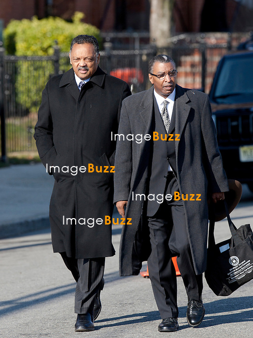 NEWARK, NJ - FEBRUARY 18 :  Family members and guests attend the Whitney Houston's funerals at 'The New Hope Baptist Church' on February 18, 2012 in Newark, New Jersey. Whitney Houston was found dead in her hotel room at The Beverly Hilton hotel on February 11, 2012. .Pic : Jesse Jackson ( on the left ).................