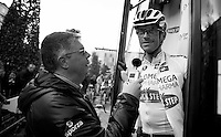Brabantse Pijl 2012.Leuven-Overijse: 195,7km..Carl Berteele interviews Dries Devenyns