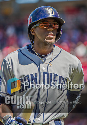 27 April 2014: San Diego Padres outfielder Cameron Maybin in action against the Washington Nationals at Nationals Park in Washington, DC. The Padres defeated the Nationals 4-2 to to split their 4-game series. Mandatory Credit: Ed Wolfstein Photo *** RAW (NEF) Image File Available ***