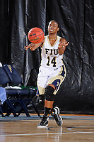11 November 2011:  FIU's Kamika Idom (14) passes the ball in the first half as the FIU Golden Panthers defeated the Jacksonville University Dolphins, 63-37, at the U.S. Century Bank Arena in Miami, Florida.