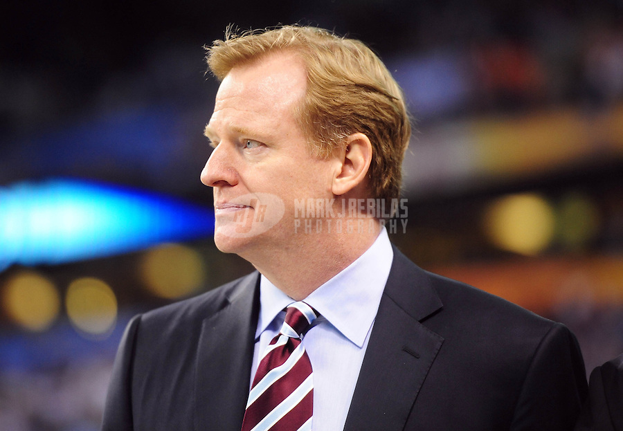 Feb 5, 2012; Indianapolis, IN, USA; NFL commissioner Roger Goodell before Super Bowl XLVI between the New England Patriots and the New York Giants at Lucas Oil Stadium.  Mandatory Credit: Mark J. Rebilas-