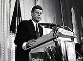 "United States Senator John F. Kennedy (Democrat of Massachusetts), a candidate for the 1960 Democratic Party nomination for President of the United States, speaks at a National Press Club luncheon in Washington, DC on January 14, 1960.<br /> Credit: Benjamin E. ""Gene"" Forte / CNP"