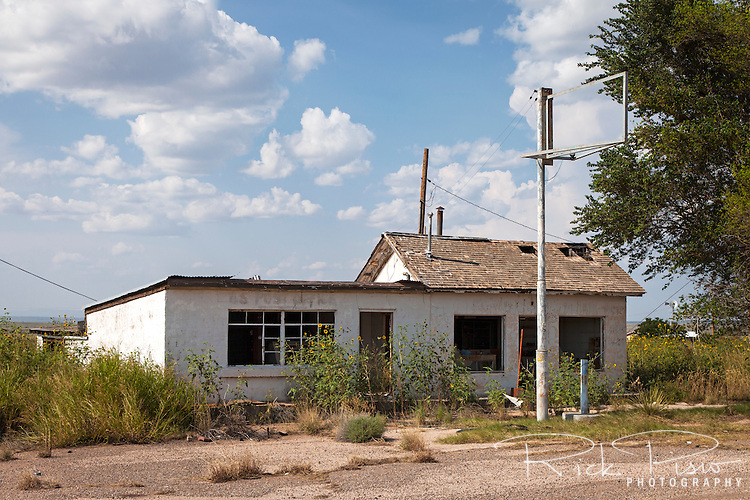 Abandoned Post Office and gas station along Route 66 in Cuervo, New Mexico
