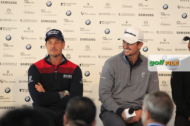 Henrik Stenson (SWE) and Justin Rose (ENG) ahead of the BMW Masters, Lake Malarian Golf Club, Boshan, Shanghai, China.  10/11/2015.<br /> Picture: Golffile | Fran Caffrey<br /> <br /> <br /> All photo usage must carry mandatory copyright credit (&copy; Golffile | Fran Caffrey)