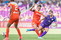 Orlando, FL - Saturday June 24, 2017: Carli Lloyd, Steph Catley during a regular season National Women's Soccer League (NWSL) match between the Orlando Pride and the Houston Dash at Orlando City Stadium.