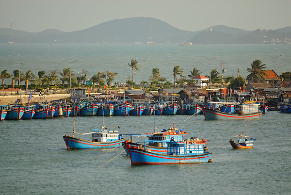 Asia, Vietnam, Nha Trang. Cai River Estuary. Nha Trang's fishing fleet moors on the Cai River just north of the city centre.