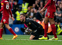 Goalkeeper Adrian of Liverpool during the Premier League match between Chelsea and Liverpool at Stamford Bridge, London, England on 22 September 2019. Photo by Liam McAvoy / PRiME Media Images.