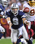 Landover, MD - November 16, 2008 -- Dallas Cowboys quarterback Tony Romo (9) pitches the ball to his running back in the second quarter against the Washington Redskins at FedEx Field in Landover, Maryland on Sunday, September 9, 2007.  The Cowboys won the game 14 - 10..Credit: Ron Sachs / CNP