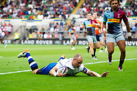 Jack Wilson of Bath Rugby scores a try. Premiership Rugby 7s (Day 2) on July 28, 2018 at Franklin's Gardens in Northampton, England. Photo by: Patrick Khachfe / Onside Images