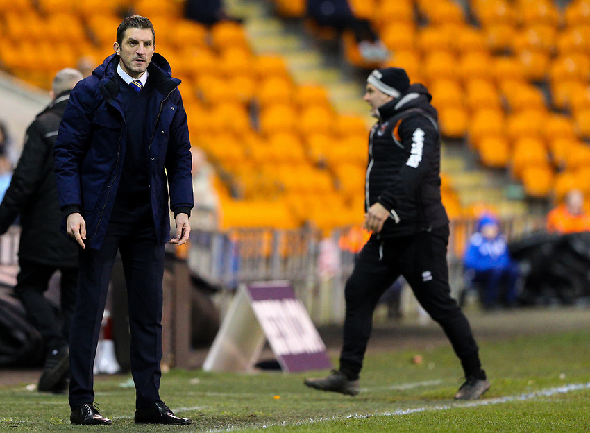 Shrewsbury Town manager Sam Ricketts<br /> <br /> Photographer Alex Dodd/CameraSport<br /> <br /> The EFL Sky Bet League One - Blackpool v Shrewsbury Town - Saturday 19 January 2019 - Bloomfield Road - Blackpool<br /> <br /> World Copyright © 2019 CameraSport. All rights reserved. 43 Linden Ave. Countesthorpe. Leicester. England. LE8 5PG - Tel: +44 (0) 116 277 4147 - admin@camerasport.com - www.camerasport.com