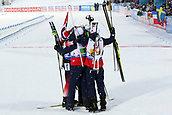 16th March 2019, Ostersund, Sweden; IBU World Championships Biathlon, day 8, mens relay; Johannes Thingnes Boe, Vetle Sjaastad Chrisitiansen, Lars Helge Birkeland and Tarjei Boe of Norway celebrate as a group