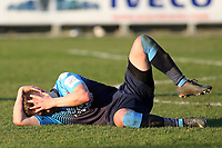 Paul Hodges of Woking lies injured with a head injury awaiting treatment during Dartford vs Woking, Vanarama National League South Football at Princes Park on 23rd February 2019