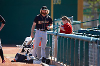 Modesto Nuts relief pitcher Kyle Wilcox (30) signs an autograph for a young fan before a California League game against the Inland Empire 66ers on April 10, 2019 at San Manuel Stadium in San Bernardino, California. Inland Empire defeated Modesto 5-4 in 13 innings. (Zachary Lucy/Four Seam Images)