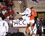 16 November 2007: Boston College's Sherron Manswell (left) wins a header against Virginia Tech's Charles Campbell (10). Boston College defeated Virginia Tech 3-1 at SAS Stadium in Cary, NC in an Atlantic Coast Conference Men's Soccer tournament semifinal.