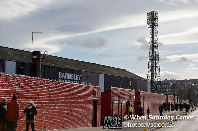 Barnsley 1 Millwall 0, 22/02/2014. Oakwell, Championship. Millwall make the journey from south London to South Yorkshire for a Championship relegation battle with Barnsley. Entrance to the West stand on Grove Street with a traditional floodlight in the background.  Photo by Simon Gill.