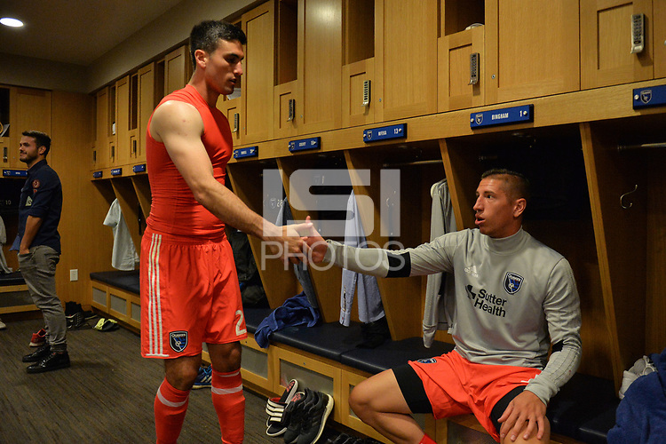 San Jose, CA - Monday July 10, 2017: Andrew Tarbell, David Bingham after a U.S. Open Cup quarterfinal match between the San Jose Earthquakes and the Los Angeles Galaxy at Avaya Stadium.