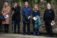 Pictured: The family, friends and work colleagues of Josh Gardener gather for his funeral at St Katharine & St Peter's Church in Milford Haven, Wales, UK. <br /> Re: The funeral for a Welsh firefighter who died during a training exercise will be held today in St Katharine & St Peter's Church in Milford Haven, Wales, UK. <br /> Josh Gardener, 35, died when two boats collided in Neyland, the Cleddau Estuary in Pembrokeshire on 17 September. The father-of-two had joined the Mid and West Wales Fire and Rescue Service in November last year.