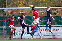 James Baker flicks on for Alex Read of Harlow Town to score the opening goal with a glancing header during Harlow Town vs Dulwich Hamlet, Buildbase FA Trophy Football at The Harlow Arena on 11th November 2017