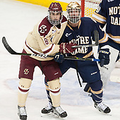 Colin White (BC - 18), Tory Dello (Notre Dame - 6) - The Boston College Eagles defeated the University of Notre Dame Fighting Irish 6-4 (EN) on Saturday, January 28, 2017, at Kelley Rink in Conte Forum in Chestnut Hill, Massachusetts.The Boston College Eagles defeated the University of Notre Dame Fighting Irish 6-4 (EN) on Saturday, January 28, 2017, at Kelley Rink in Conte Forum in Chestnut Hill, Massachusetts.