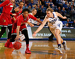 BROOKINGS, SD - DECEMBER 3: 	Myah Selland #44 from South Dakota State battles for the loose ball with Arica Carter #11 from Louisville during their game Sunday afternoon at Frost Arena in Brookings, SD.  (Photo by Dave Eggen/Inertia)