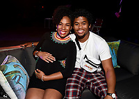 """LOS ANGELES - JULY 08: (L-R) Cast members Isaiah John and Angela Lewis attend the Red Carpet Event for FX's """"Snowfall"""" Season Three Premiere Screening at USC Bovard Auditorium on July 8, 2019 in Los Angeles, California. (Photo by Frank Micelotta/PictureGroup)"""