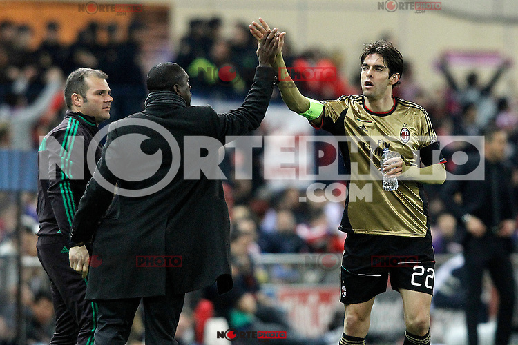 AC Milan's coach Clarence Seedorf (l) celebrates goal with Kaka during Champions League 2013/2014 match.March 11,2014. (ALTERPHOTOS/Acero)