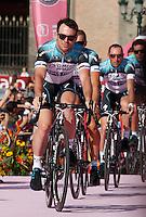 English   cyclist Mark cavendush     of the Omega Pharma    Team  attends his team's presentation for the 96th Giro d'Italia cycling tour at Piazza del Plebiscito in Naples                                                                                                             NAPOLI 03/05/2013 PRESENTAZIONE DEI CORRIDORI DEL 96° GIRO D'ITALIA.NELLA FOTO .FOTO CIRO DE LUCA
