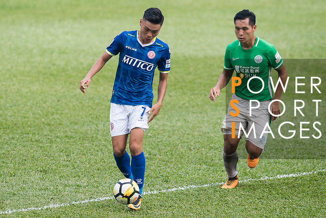 Yiu Kwok of Rangers of Rangers (L) in action against Kwun Chung Leung of Wofoo Tai Po (R) during the week three Premier League match between BC Rangers and Wofoo Tai Po at Sham Shui Po Sports Ground on September 17, 2017 in Hong Kong, China. Photo by Marcio Rodrigo Machado / Power Sport Images