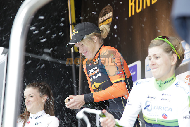 Ellen Van Dijk (NED) Boels Dolmans wins the 2014 Women's Tour of Flanders, with team mate Elizabeth Armitstead (GBR) Boels Dolmans in 2nd place and Emma Johansson (SWE) Orica-AIS in 3rd, Oudenaarde, Belgium.<br /> Picture: Eoin Clarke www.newsfile.ie