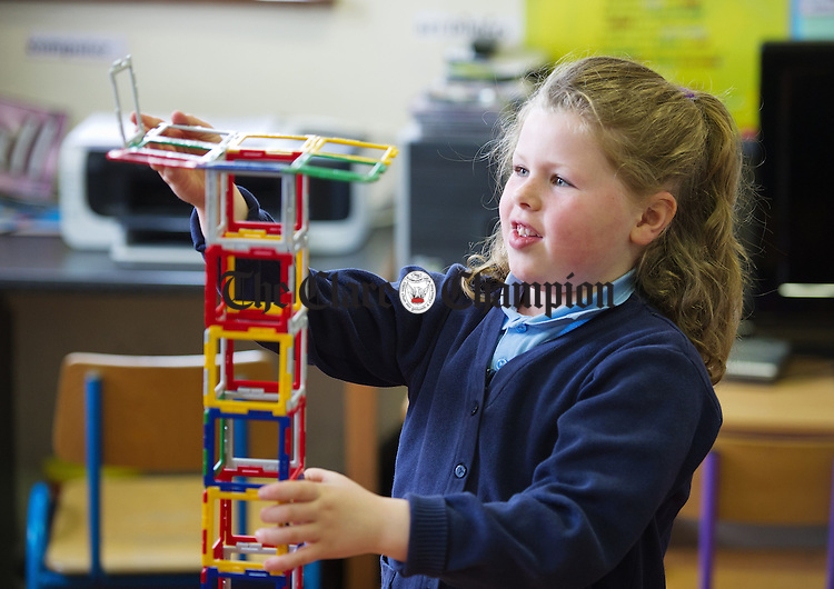 Annie Kerins busy building at Boston National School. Photograph by John  Kelly.