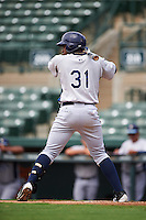 GCL Rays third baseman Juan Carlos Arias (31) at bat during the first game of a doubleheader against the GCL Orioles on August 1, 2015 at the Ed Smith Stadium in Sarasota, Florida.  GCL Orioles defeated the GCL Rays 2-0.  (Mike Janes/Four Seam Images)