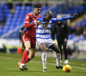 31st October 2017, Madejski Stadium, Reading, England; EFL Championship football, Reading versus Nottingham Forest; Sone Aluko of Reading holds off Andreas Bouchalakis of Nottingham Forest