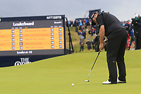 Shane Lowry (IRL) birdie putt on the 15th green during Sunday's Final Round of the 148th Open Championship, Royal Portrush Golf Club, Portrush, County Antrim, Northern Ireland. 21/07/2019.<br /> Picture Eoin Clarke / Golffile.ie<br /> <br /> All photo usage must carry mandatory copyright credit (© Golffile | Eoin Clarke)