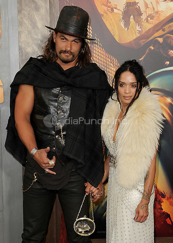 "HOLLYWOOD, CA - MAY 7:  Jason Momoa and Lisa Bonet at the Los Angeles premiere of ""Mad Max: Fury Road"" at the TCL Chinese Theatre on May 7, 2015 in Hollywood, California. Credit: PGSK/MediaPunch"