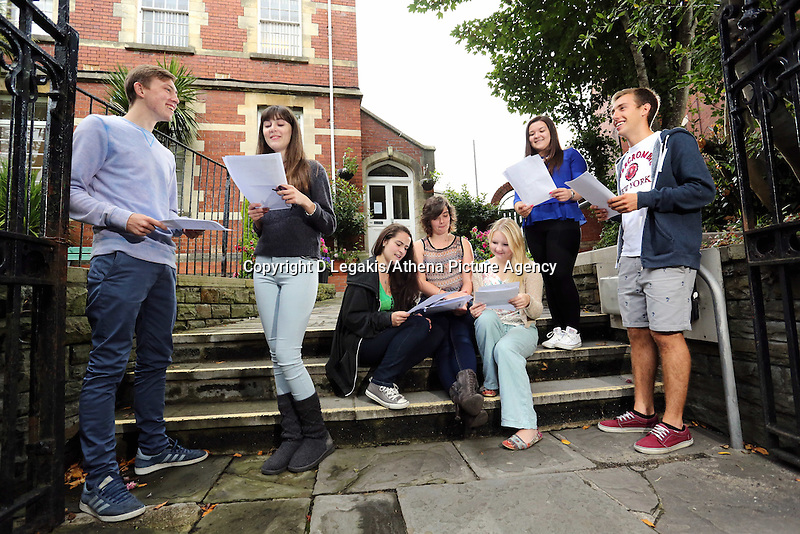 Pictured L-R: Students Jake Lomas, Freya Koutsoubelis, Holly Dickens, Katie Watkins, Celia Crees, Kia Warlow and Ben Francis.<br /> Re: Ffynone School A Level results, Swansea, south Wales.