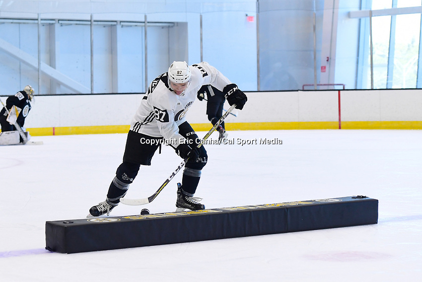 June 26, 2018: Boston Bruins defenseman Philip Beaulieu (87)  does a drill during the Boston Bruins development camp held at Warrior Ice Arena in Brighton Mass. Eric Canha/CSM