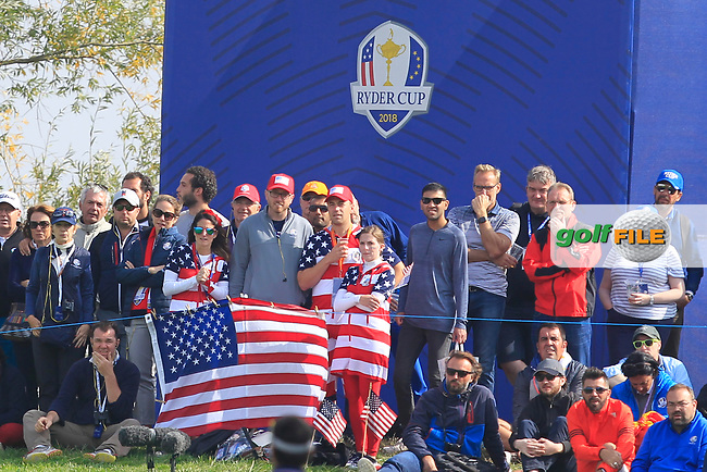 USA support on the 4th green during the Friday Foursomes at the Ryder Cup, Le Golf National, Ile-de-France, France. 28/09/2018.<br /> Picture Thos Caffrey / Golffile.ie<br /> <br /> All photo usage must carry mandatory copyright credit (© Golffile   Thos Caffrey)