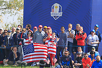 USA support on the 4th green during the Friday Foursomes at the Ryder Cup, Le Golf National, Ile-de-France, France. 28/09/2018.<br /> Picture Thos Caffrey / Golffile.ie<br /> <br /> All photo usage must carry mandatory copyright credit (&copy; Golffile | Thos Caffrey)