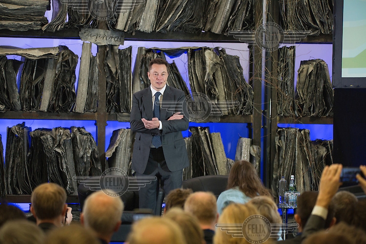 Elon Musk (Tesla Motors, PayPal, SpaceX, SolarCity) speaking on Norwegian government conference &quot;Transport solutions for the future&quot;<br /> <br /> <br /> (photo: Fredrik Naumann/Felix Features)
