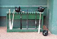 The visitors' bat rack sits outside the dugout prior to a game between the Savannah Sand Gnats and the West Virginia Power on July 21, 2011, at Grayson Stadium in Savannah, Georgia. (Tom Priddy/Four Seam Images)