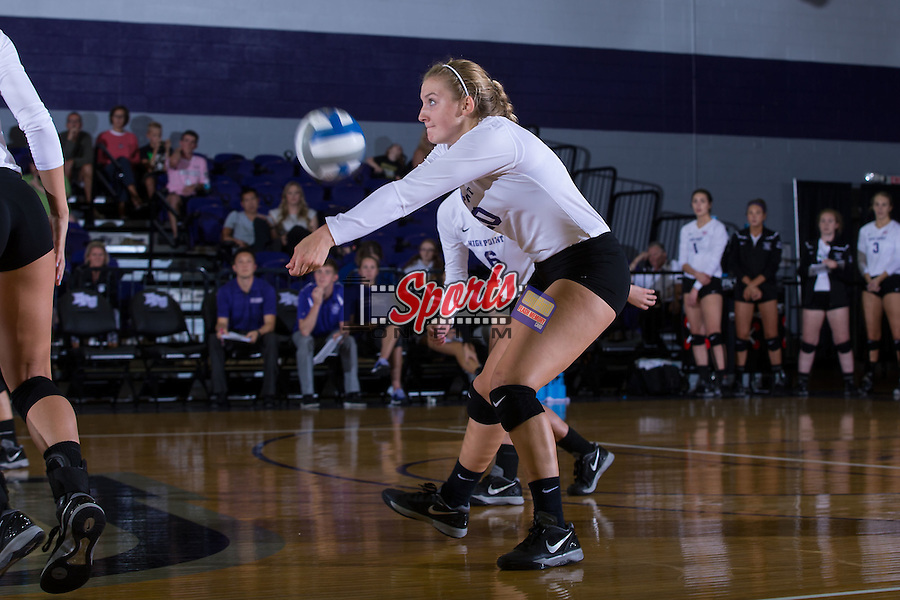 Haley Barnes (20) of the High Point Panthers digs the ball against the Wake Forest Demon Deacons at the Panther Invitational at the Millis Athletic Center on September 12, 2015 in High Point, North Carolina.  The Demon Deacons defeated the Panthers 3-1.   (Brian Westerholt/Sports On Film)