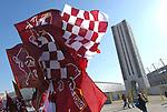 L'esterno dello Stadio Olimpico di Torino prima di una partita di calcio.