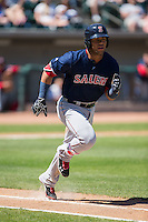 Yoan Moncada (19) of the Salem Red Sox hustles down the first base line against the Winston-Salem Dash at BB&T Ballpark on April 17, 2016 in Winston-Salem, North Carolina.  The Red Sox defeated the Dash 3-1.  (Brian Westerholt/Four Seam Images)