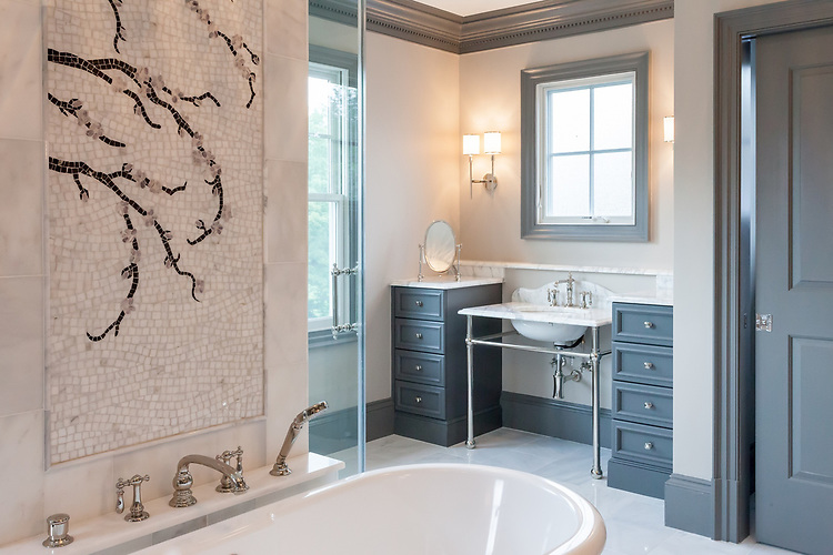 Plum Blossom, custom natural stone hand cut mosaic panel, is shown in Calacatta Tia, Lavender Mist, Desert Pink and Saint Laurent polished.<br /> -photo courtesy of Claire Matthews, ASID and BCN Homes