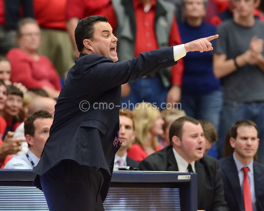 Nov 23, 2011; Tucson, AZ, USA; Arizona Wildcats head coach Sean Miller gestures to his team in the second half of a game against the San Diego State Aztecs at the McKale Center.  The Aztecs won 61-57.  Mandatory Credit: Chris Morrison-US PRESSWIRE