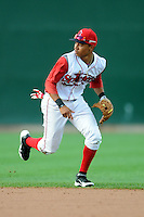 Lowell Spinners infielder Mookie Betts #7 during a game versus the State College Spikes at LeLacheur Park in Lowell, Massachusetts on July 29, 2012.  (Ken Babbitt/Four Seam Images)